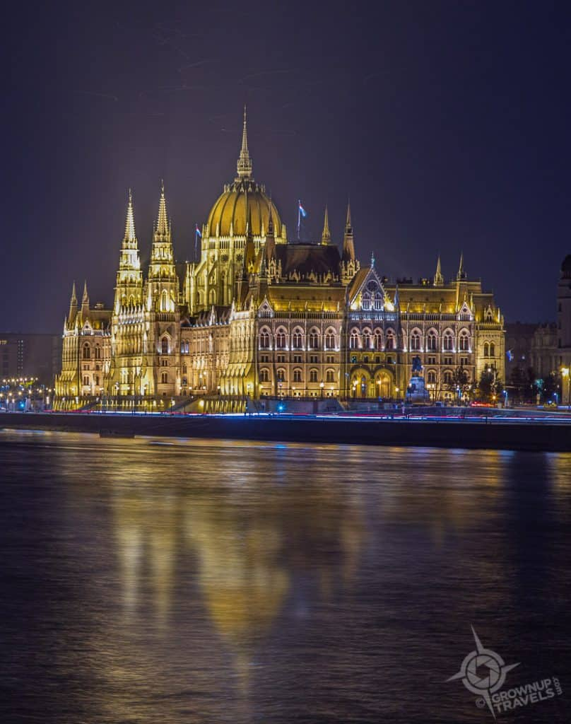 Budapest Parliament buildings at night reflection
