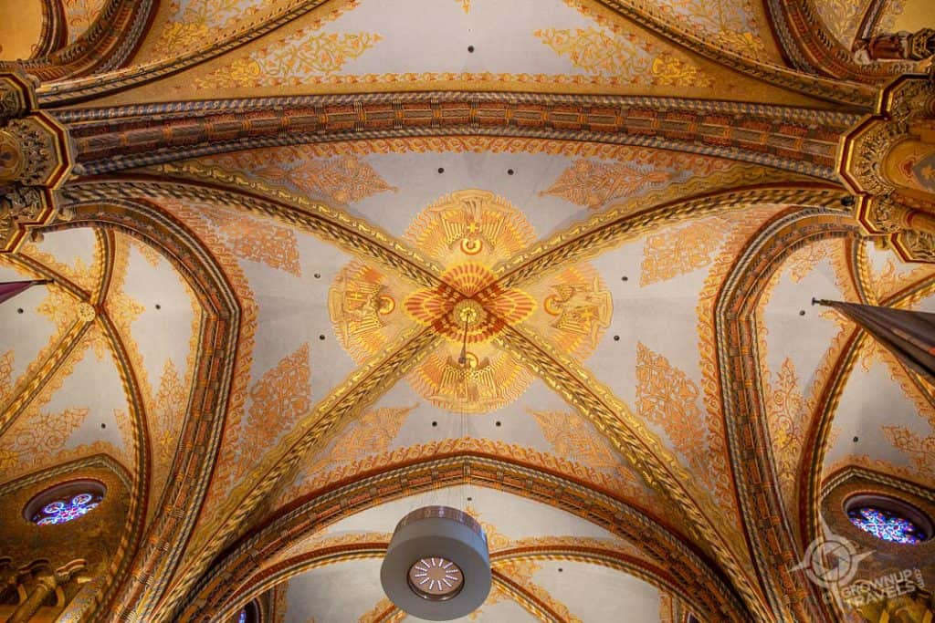 Budapest St. Mathias church vaulted ceiling details