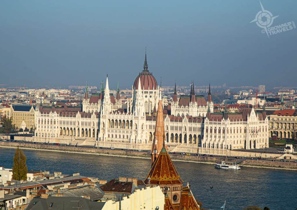 View of Hungarian Parliament from Fishermans Bastion Budapest