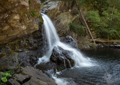 Waterfall south of the St. Lawrence near Sept Chutes trail Pascal Quebec