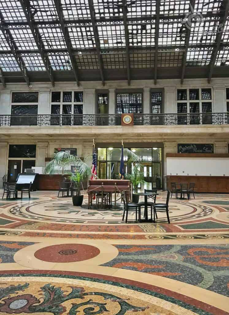 Buffalo Architecture Ellicott Square mosaic tile floor and atrium