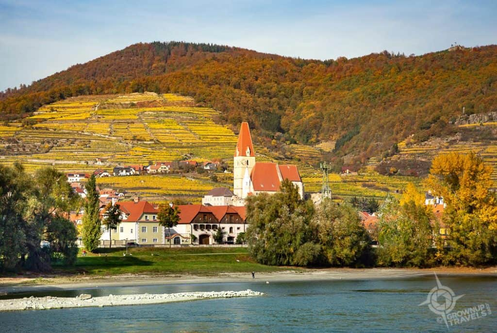 Danube river scene of village