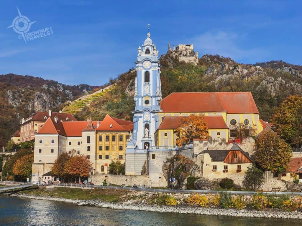 Durnstein Abbey and castle from river