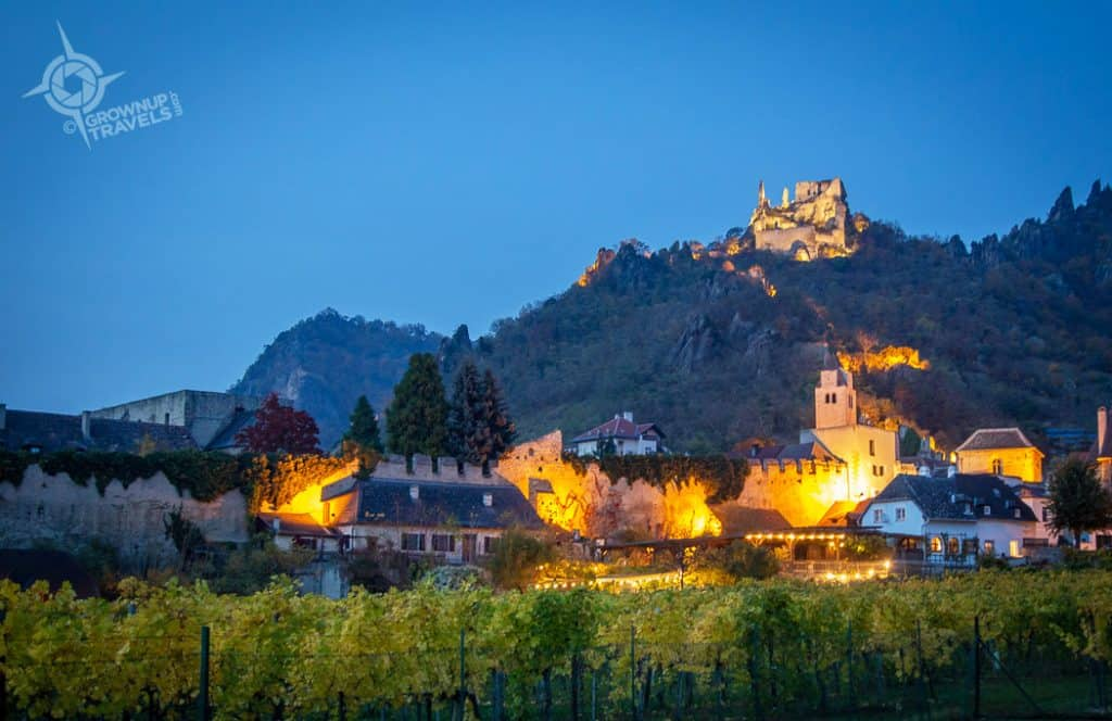 Durnstein Blue Hour with castle illuminated