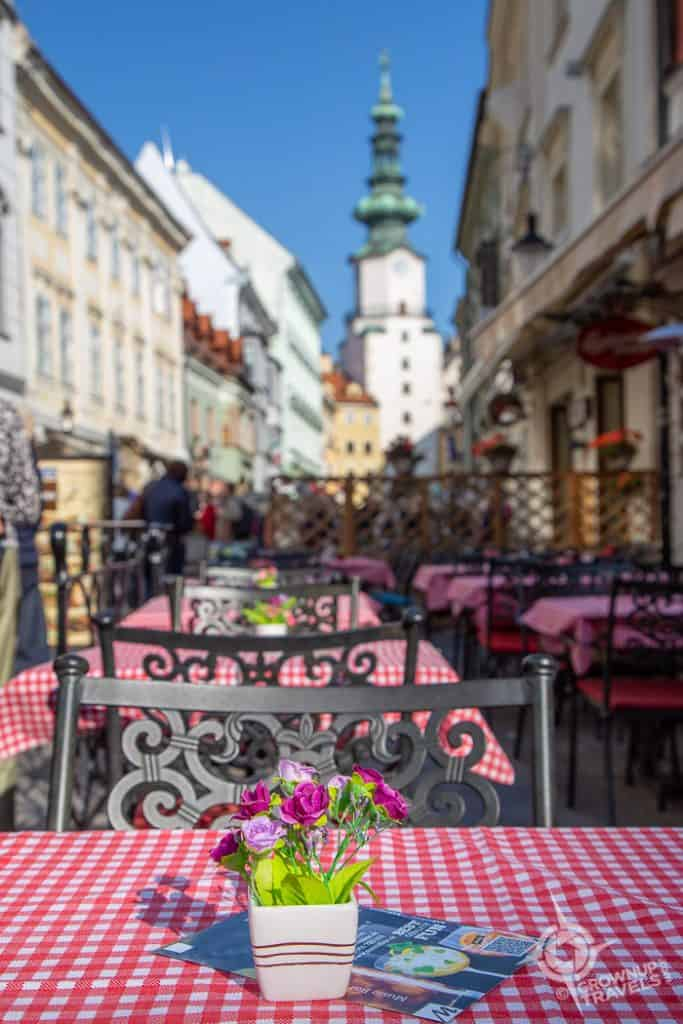 Cafes table in Old Town Bratislava