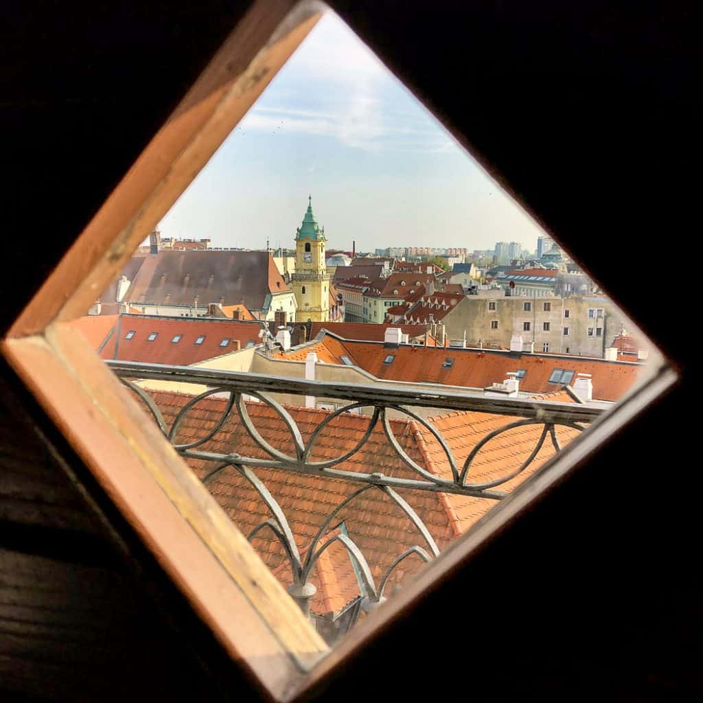 View of Old Town from Martins Gate Tower Bratislava