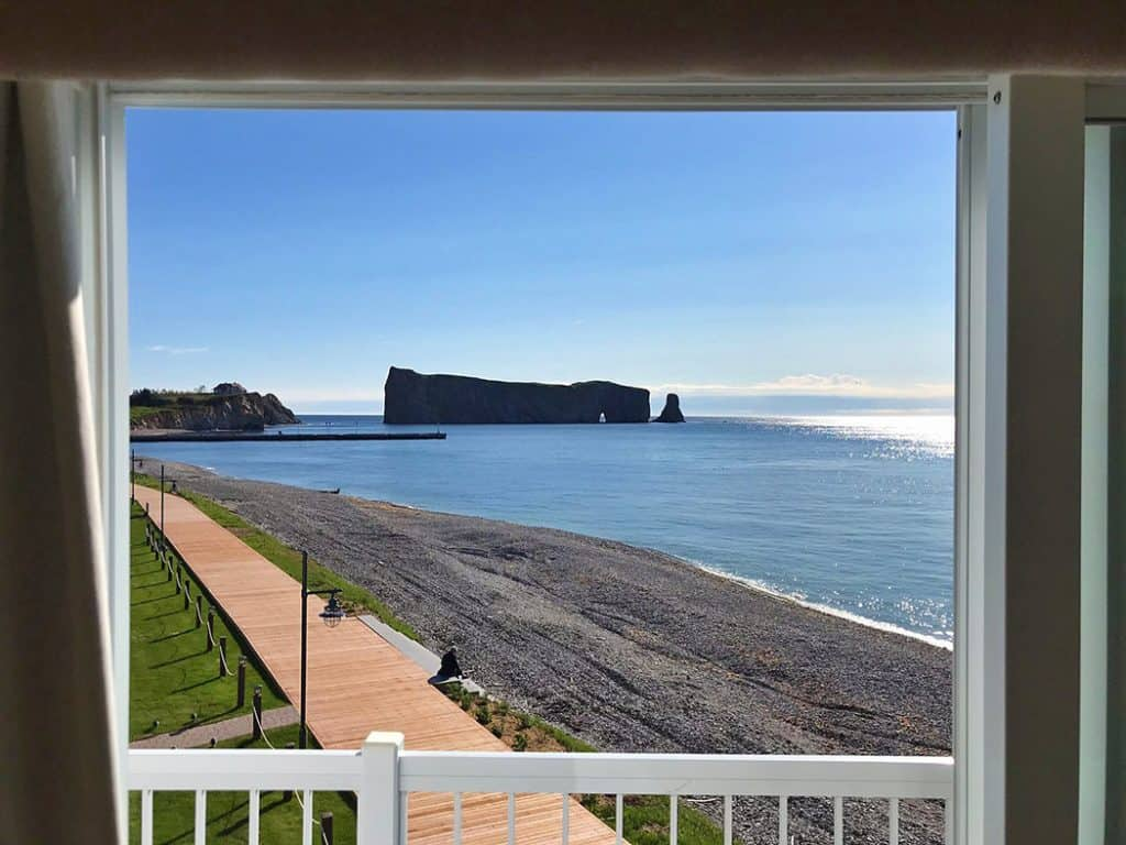 view of Perce from Hotel La Normandie