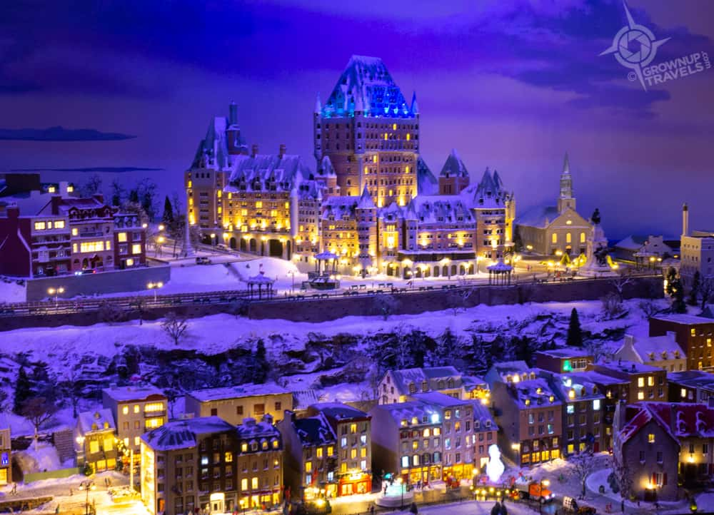 Little Canada Quebec City winter at night